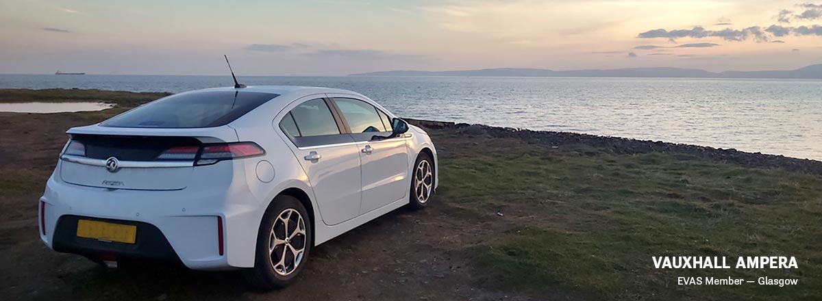 Image of Vauxhall Ampera looking out over sea scene
