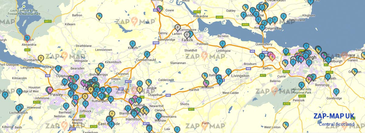 Map of Central Scotland showing Charge Point Locations